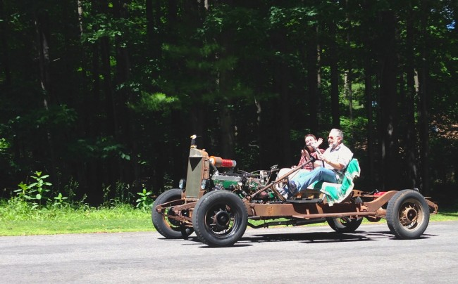 Alan and Rayden in the Swampmobile, June 2014